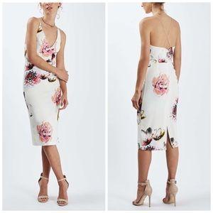 Topshop floral plunge midi dress